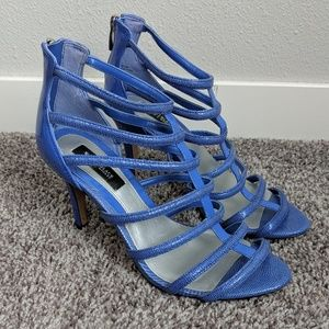 WHBM Periwinkle Cage Strappy Heels Size 7